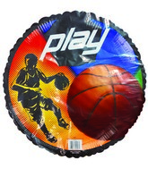 "18"" Play! Basketball Player Black Border Balloon"