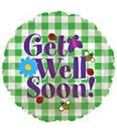 "18"" Get Well Green/White Checker Box136"