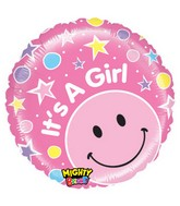 "21"" It's a Girl! Stars Pink Smiley Balloon"