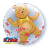 "24"" Love Hearts & Bear Plastic Double Bubble Balloons"