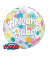 "22"" Single Bubble Packaged Welcome Baby Colorful Dots"