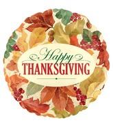"18"" Happy Thankgiving Elegant Leaves Balloon"