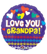 "18"" Love You Grandpa Hearts Balloon"