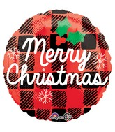 "18"" Merry Christmas Plaid Balloon"