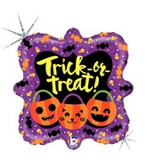 "18"" Square Holographic Balloon Trick or Treat Pumpkins"