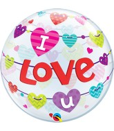 "22"" Bubble Balloon I Love U Banners Hearts"