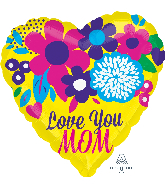 "21"" Color Blast Love You Mom Bright Flowers Balloon"