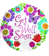 "18"" Get Well Soon Girl Foil Balloon"
