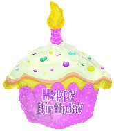 "17"" Happy Birthday Day Pink Cupcake Shape Balloon"
