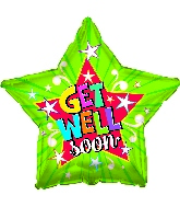 "17"" Get Well Soon Lime Burst Foil Balloon"