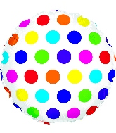 "18"" Multi-Colored Dots Foil Balloon"