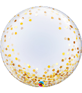 "24"" Round Gold Confetti Dots Bubble Balloon"