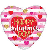 "18"" Happy Valentine's Day Pink Stripes Foil Balloon"