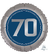 "18"" SilveR/Blue Number 70 Foil Balloon"