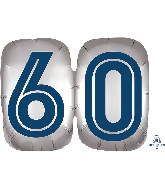 "25"" SuperShape™ Silver/Blue Number 60 Foil Balloon"