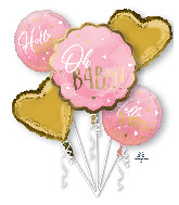 Bouquet Pink Baby Girl Foil Balloon