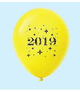 "11"" Year 2019 Stars Latex Balloons Yellow (25 Per Bag)"