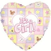 "17"" It's a Girl Bear and Bunnies Balloon Packaged"