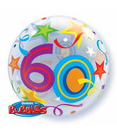 "22"" 60 Brilliant Stars Plastic Bubble Balloons"