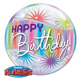 "22"" Happy Birthday Sorbet Plastic Bubble Balloons"