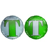 "18"" Letter T Green & White Foil Balloon"
