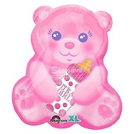 "16"" Junior Shape Xl® Baby Girl Bear With Bottle Balloon"