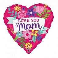 "28"" Jumbo Love You Mom Flowers Balloon"