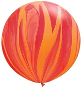 "30"" Red Orange Rainbow SuperAgate Balloons (2 Count)"