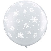 "36"" Clear Snowflakes Latex Balloons"