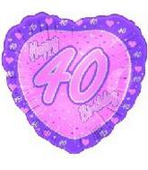 "18"" Happy 40th Birthday Pink Heart"