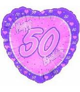 "18"" Happy 50th Birthday Pink Heart"