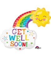 "30"" Jumbo Get Well Happy Rainbow Balloon"