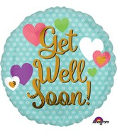 "28"" Jumbo Get Well Soon Hearts Balloon"