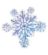 "32"" Holographic   Prismatic Snowflake Cluster Balloon"