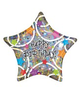 "32"" Happy Birthday Stars  Jumbo Holographic"