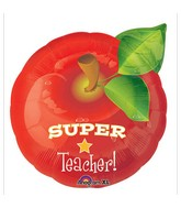"18"" Junior Shape Super Teacher Apple Balloon Packaged"