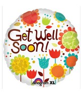 "18"" Cheery Flowers Get Well  Mylar Balloon"
