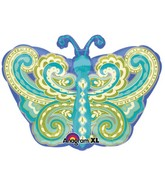 "22"" Junior Shape Paisley Teal Butterfly Balloon Packaged"