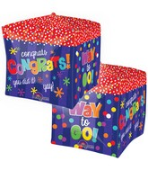 "15"" Cubez Way to Go! Congrats Cube Balloon Packaged"