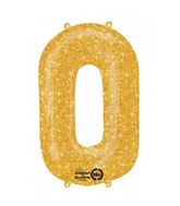 "35"" SuperShape 0 Gold Sparkle Balloon Packaged"