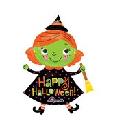 "37"" SuperShape Halloween Cute Witch Balloon Packaged"