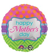 "18"" Happy Mother's Day Dots & Chevron Balloon"