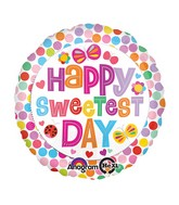 "18"" Happy Sweetest Day Dots Balloon Packaged"