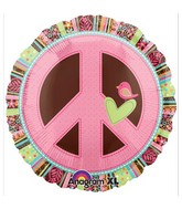 "18"" Hippie Chick Peace Sign Balloon Packaged"
