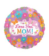 "28"" Jumbo Love Mom Flowers & Butterflies Balloon Packaged"