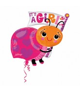 Jumbo It's a Girl Ladybug Balloon Packaged