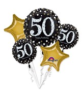 Bouquet Sparkling Birthday 50 Balloon Packaged