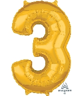 "26"" Number ""3"" Gold Mid-Size Shape Foil Balloon"
