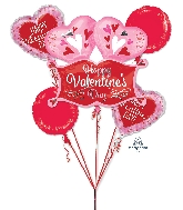 Bouquet Double Heart Marquee Valentines Balloon
