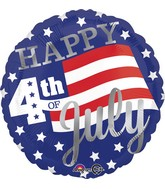 "18"" Happy 4th Stars & Stripes Balloon"